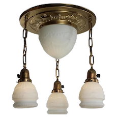 Antique Neoclassical Semi-Flush Inverted Dome Chandelier with Original Shades