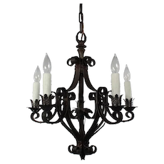 Antique Iron Chandelier, Early 1900's
