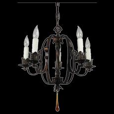 Antique Iron Chandelier, Amber Prism