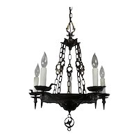 Antique Iron Tudor Chandelier by Virden, Early 1900s