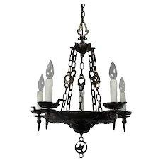 Antique Iron Tudor Chandelier by Virden, Early 1900s