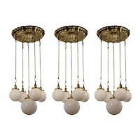 Matching Antique Sheffield Chandeliers with Ball Shades