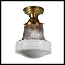 Brass Flush Mount Light with Glass Shade, Antique Lighting