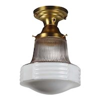 Brass Flush Mount Light with Glass Shade, Antique Lighting
