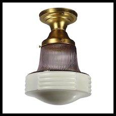 Antique Brass Flush Mount Light, Lavender Shade