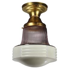 Antique Brass Flush Mount Light, Lavender Shade