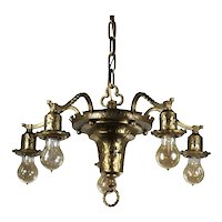 Antique Brass Five-Light Tudor Chandelier