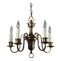Brass Five-Light Tudor Chandelier; Antique Lighting