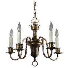 Brass Five-Light Tudor Chandelier; Antique Lighting