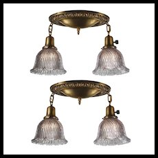 Matching Antique Flush Mount Lights with Lavender Holophane Shades