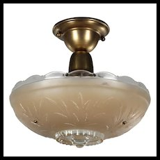 Flush Mount Light with Glass Shade, Antique Lighting