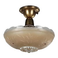 Flush Mount Light with Glass Shade, Antique Lighting