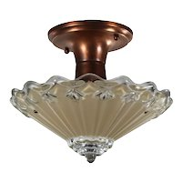 Antique Flush Mount Light Fixture with Original Glass Shade