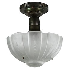 Antique Flush Mount with Original Glass Shade, c.1920
