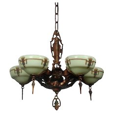 "Antique Art Deco Chandelier by Gill Glass & Fixture Company, ""Marquette"" Line"