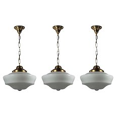Matching Brass Schoolhouse Pendant Lights, Antique Lighting