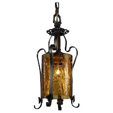 Antique Pendant Light with Original Crackled Glass