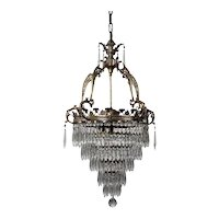 Neoclassical Brass Wedding Cake Chandelier, Antique Lighting