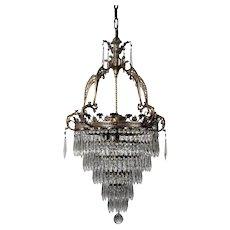 Neoclassical Brass Wedding Cake Chandelier, Antique Lighting