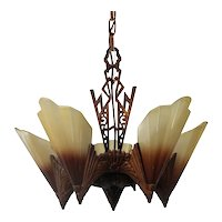 "Antique Art Deco Slip Shade ""Soleure"" Chandelier by Midwest Manufacturing Co."