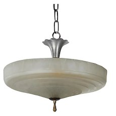 Antique Pendant Light with Glass Shade