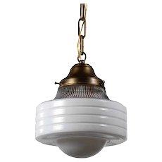 Antique Brass Pendant Light, Glass Shade