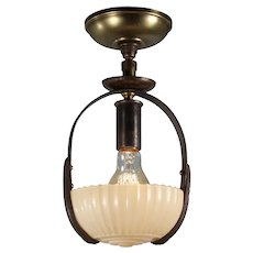 Antique Art Deco Semi-Flush Mount with Glass Shade