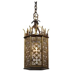 Bronze Pendant Light with Granite Glass, Antique Lighting