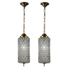 Matching Vintage Pendant Lights with Cylindrical Glass Shades, c.1940