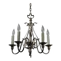 Antique Art Nouveau Silver Plate Chandelier, c.1910