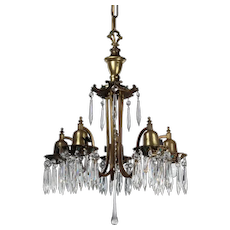 Antique Bronze Neoclassical Chandelier with Prisms