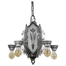 Antique Art Deco Chandelier with Mirrored Glass Panels