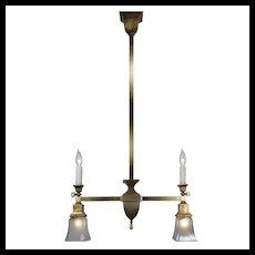 Brass Gas & Electric Pendant, Antique Lighting