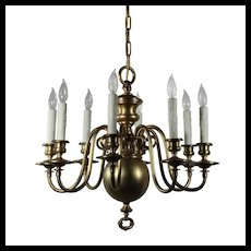Antique Colonial Revival Brass Chandelier, Early 1900's