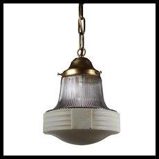 Antique Brass Pendant Light, Lavender Shade