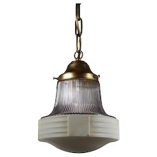 Antique Brass Pendant Light, Lavender Shade