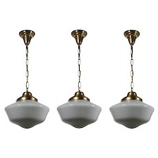 Brass Schoolhouse Pendant Lights, Antique Lighting