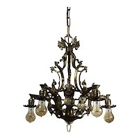 Antique Figural Spanish Revival Cast Brass Chandelier with Lions