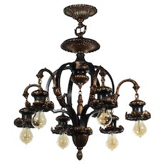 Antique Two-Tone Bronze Semi-Flush Mount Chandelier