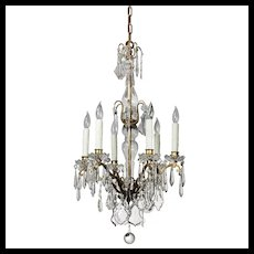 Antique Brass Neoclassical Chandelier with Crystal Prisms, c. 1910