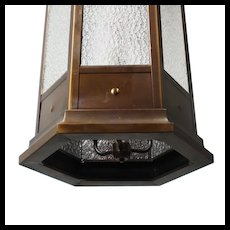 Antique Bronze Pendant Light with Granite Glass