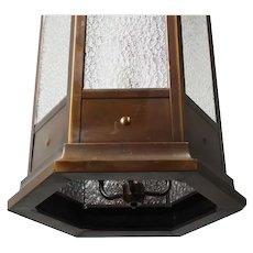 Antique Bronze Pendant Light with Granite Glass