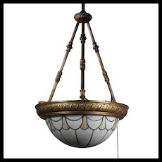 Antique Brass Inverted Dome Stained Glass Chandelier, c. 1880