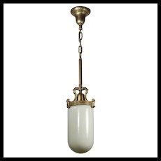 Antique Brass Bullet Shade Pendant Light, Early 1900's
