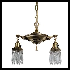 Antique Brass Two-Light Chandelier with Prisms