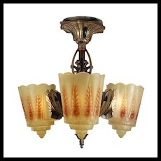 Antique Art Deco Slip Shade Semi-Flush Chandelier