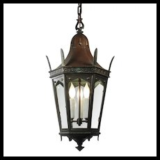 Antique Bronze Lantern with Glass