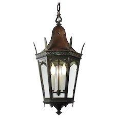Antique Bronze Lantern with Glass