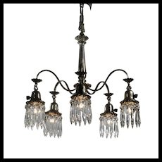 Antique Neoclassical Chandelier with Prisms, Silver Plate