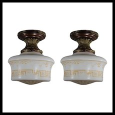 Matching Antique Flush Lights with Original Glass Shades
